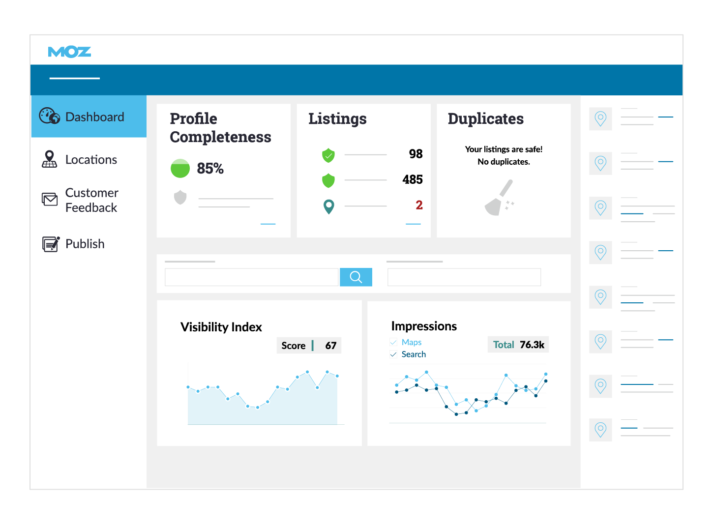 Moz Local product dashboard