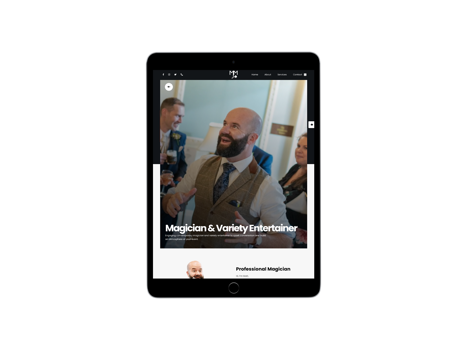 Matthew J Magic Responsive Website - Tablet