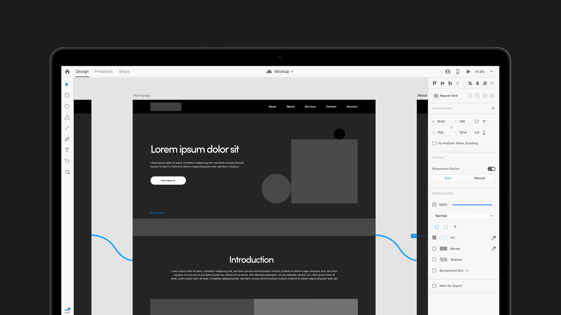 Large website wireframe mockup on Adobe XD