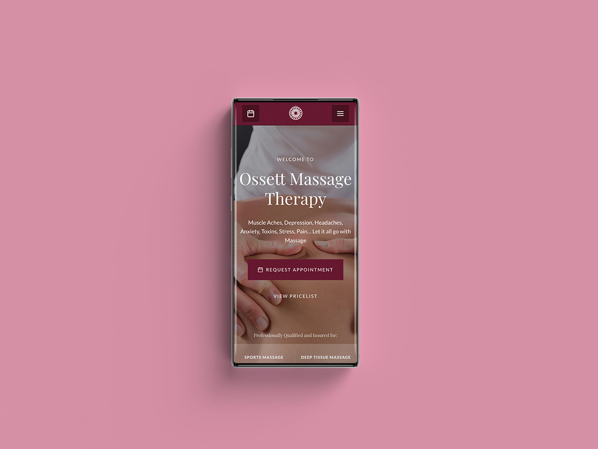 Ossett Massage Therapy website displayed on a mobile device