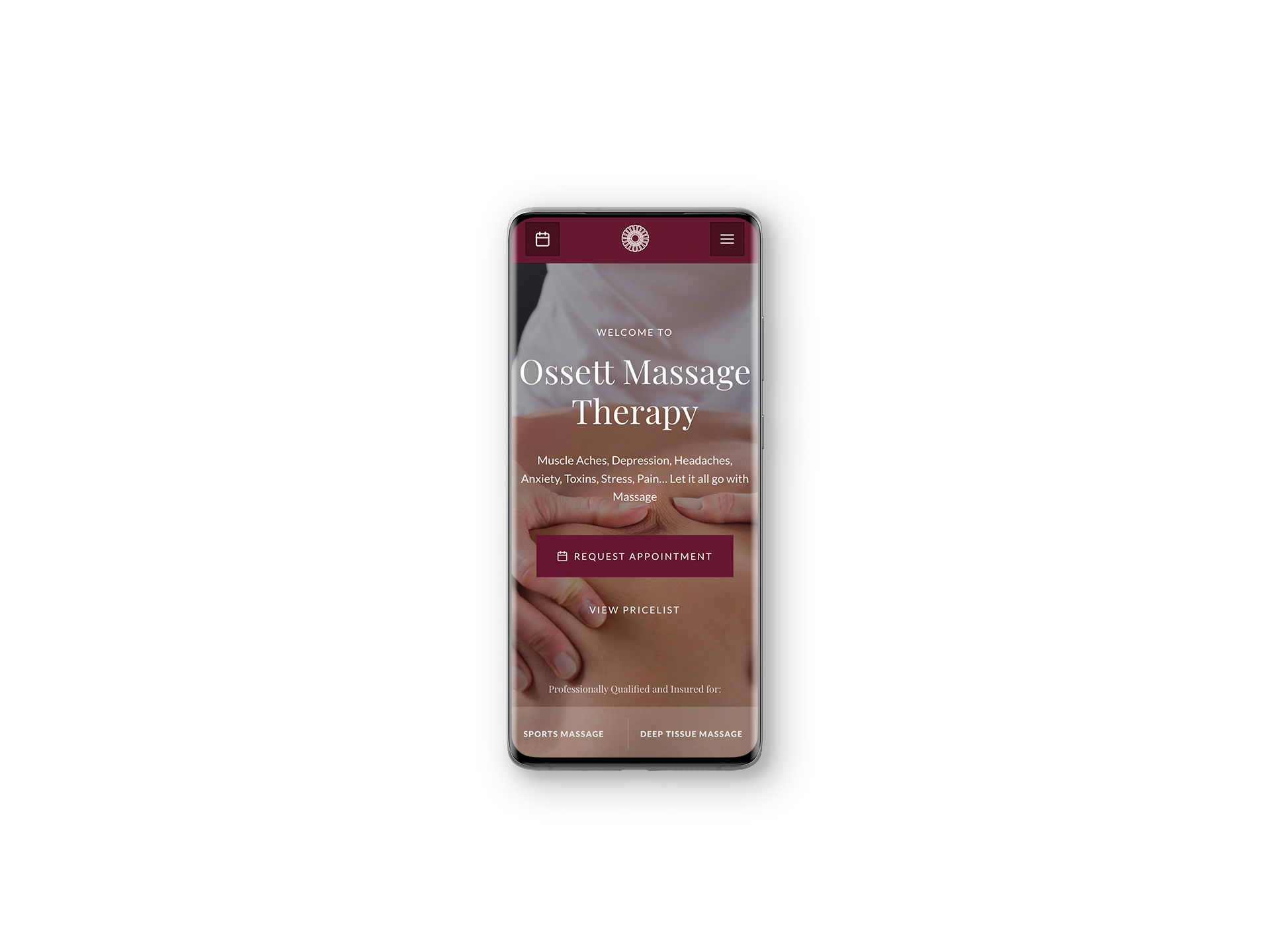 Ossett Massage Therapy Website Development - Mobile Repsonsive